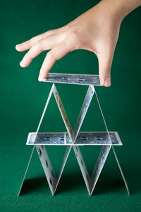 People often compare a Ponzi scheme to building a house of cards. It must collapse eventually.