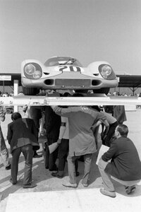 The Porsche 917K of Jo Siffert and Brian Redman being inspected during scrutineering at the Le Mans 24 Hours race, Le Mans, June 1970.