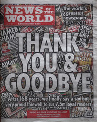 The final issue of the News of the World newspaper, shut down in the wake of the News International phone-hacking scandal, appears on newsstands on July 10, 2011.