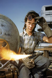 The propaganda image of Rosie the Riveter motivated this young woman, Wendy the welder, to work at the Electric Boat Co. in 1943.