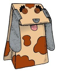 Make this hound dog paper bag puppet with only a few supplies.