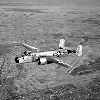 B-25 bomber's are equipped with radial engines.  See more pictures of radial engines.