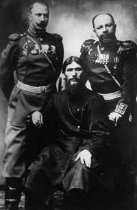 Rasputin with Russian military officials in 1910.