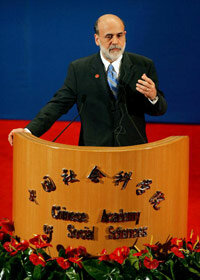 To combat decline, the Federal Reserve (led by Chairman Ben S. Bernanke, shown in China in 2006) may adjust interest rates to jumpstart the economy.