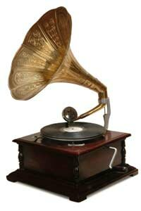 An old gramophone with a horn and flat disc like this is similar to Emile Berliner's design.