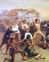 A depiction of the battle within the walls of the Alamo. Combatant Davy Crockett is shown with his rifle raised as a club.