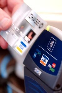 Chase's Blink technology uses an RFID chip embedded in the card to process transactions with the mere wave of the hand.