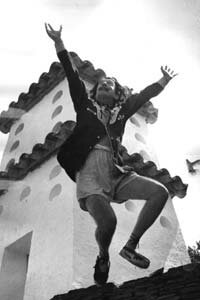 Dalí living it up at his home in Cadaqués on the Spanish Costa Brava.