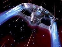 The Enterprise in warp.