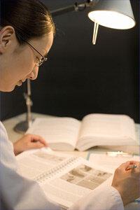Scientist reading