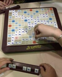 The winning board for the 2003 National School Scrabble Championship is shown on display in Boston.
