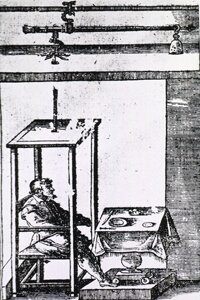 A 17th-century illustration of Santorio in his famous weighing chair device
