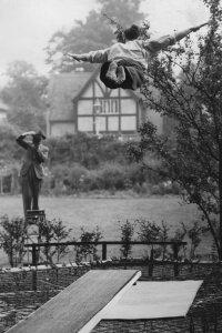 Roy Fransen practicing his diving technique in 1937