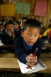 Sherpa children at a school funded by the Himalayan Trust.