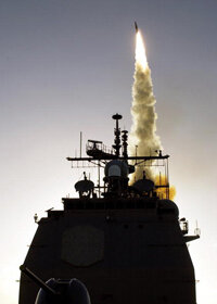 The Aegis class Navy cruiser U.S.S. Lake Erie test fires a SM-3 missile off the coast of Hawaii in December 2003.