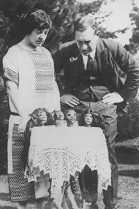 Western collectors, like explorer Lady Richmond Brown, shown with her tsantsas on display in 1925, helped fuel wars among the Shuar waged for the purpose of fulfilling demand for shrunken heads.