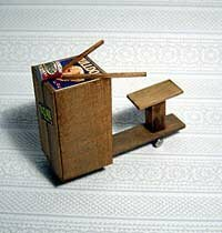 A replica produce-crate scooter