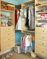 Vertical space can be your best friend in a small closet.