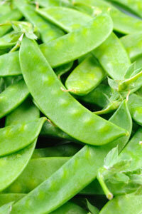 Snow peas are high in vitamin C.
