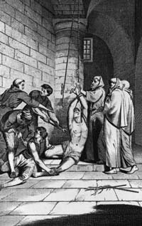 English merchant Nicholas Burton is tortured by officers of the Spanish Inquisition while imprisoned in Cadiz, 1560. He converted several of his fellow prisoners to the Protestant faith before he was martyred at the stake.