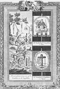 "Composite engraving from Dr. Southwell's ""New Book of Martyrs,"" showing tortures of the Spanish Inquisition"