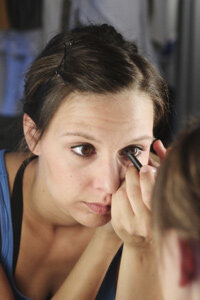 Applying makeup becomes easy with a large mirror, bright lighting and a little practice.