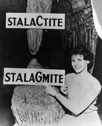 Educational signs in the Luray Caverns in Virginia promote public understanding of the difference between stalactites and stalagmites.