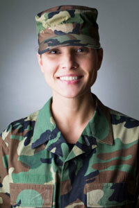 woman wearing military fatigues
