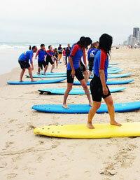A surfing class