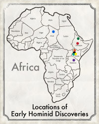 Location of top 10 early hominid finds.