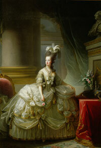 Marie Antoinette in one of her elaborate gowns and signature hairstyles.