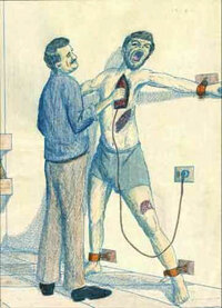 An illustration depicting torture with a hot clothing iron, discovered in an al-Qaida safe house in Iraq in May 2007.