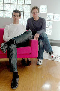 Jack Dorsey (left) and Biz Stone (right), co-founders of San Francisco-based Obvious, the 10-person startup behind the popular Twitter social messaging service. See more popular Web site pictures.