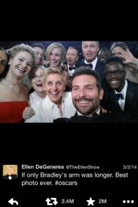 The tweet that crashed it all: Ellen's 2014 Oscar selfie.