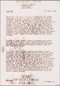 """In December 1984 this alleged briefing prepared by """"Operation Majestic-12"""" arrived in the mail to a Los Angeles man researching UFO secrets. Supposedly, Majestic-12 (MJ-12) comprised 12 prominent men with military, intelligence, and scientific backgrounds."""