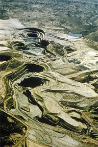 Pictured is an open-pit uranium mine in Gas Hills, Wyo., March 1978.