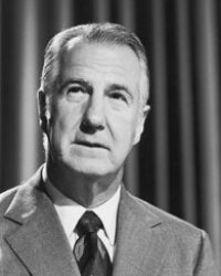 Spiro Agnew, the only vice president to resign the office, plead no contest on tax evasion charges.