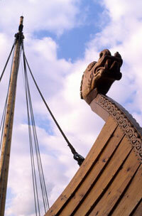 Viking warships often sported fearsome dragon carvings at both bow and stern.