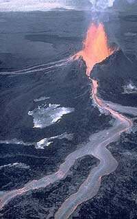 An effusive lava flow from Pu`u `O`o Cone on Kilauea Volcano in Hawaii.