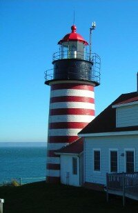 Conical and cylindrical lighthouses, such as the West Quoddy Head Lighthouse, are among the most common along the eastern coast. See more pictures of lighthouses.