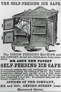An 1874 advertisement for the Piston Freezing Machine. By our estimate, the freezer looks like it could easily house your emergency stash of Popsicles, french fries and peas.