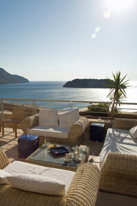 Synthetic wicker is perfect for outdoor furniture. Would you like to sit here?