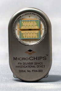 This microchip-based drug delivery device is programmable and can be wirelessly controlled to release each dose as specified.It's approximately 5 x 3 x 1 centimeters.