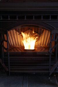 A wood pellet stove