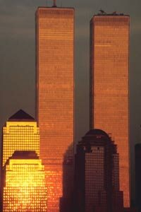 The exterior walls of the World Trade Center towers, bathed in sunlight. See more beautiful skyline pictures.