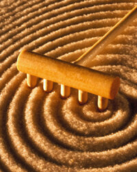 No zen garden is complete without sand -- and a rake to smooth your troubles away.