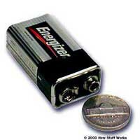 By tapping the terminals of a 9-volt battery with a coin, you can create radio waves that an AM radio can receive!