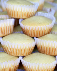 Light and fluffy angel food cupcakes taste heavenly with glazed fruit.