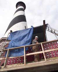 Atlas didn't have a hydraulic jacking system, like these movers of the Cape Hatteras Lighthouse.
