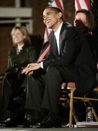 Obama at a rally in New Hampshire during the 2008 primary season.